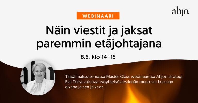Webinaarin jakokuva, jossa on Eva Torran, Ahjon strategin ja partnerin kuva ja liekki taustalla